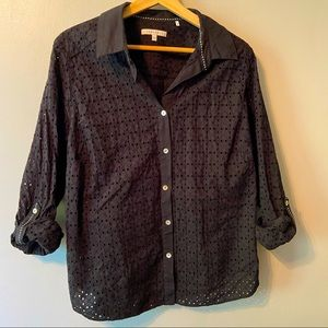 Black Cotton Foxcroft Blouse with Tab Sleeves